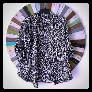 Grey & White Leopard Print Dress Shirt